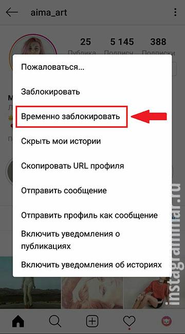 что знавит временно заблокировать аккаунт в Инстаграм