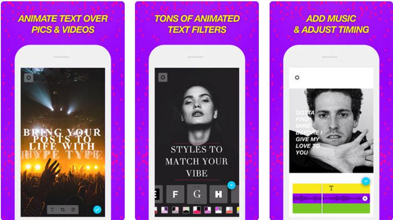 приложение для Инстаграм Историй Hype Type текст на фото